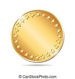 gyllene, illustration, vektor, bakgrund, tom, vit, mynt
