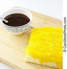 gyllene, kaffe, tråd, trä, (foythong, varm, bakgrund, cake)