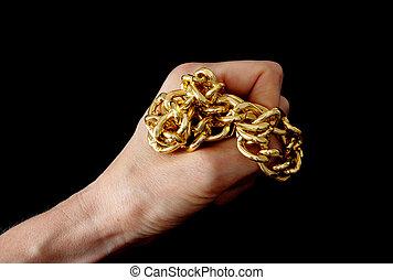 gyllene, kedja, hand