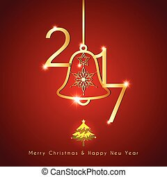 gyllene, klocka, stickande, bakgrund, jul, röd