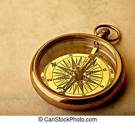 gyllene, kompass