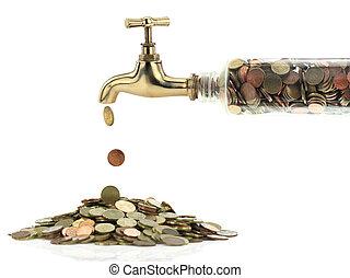 gyllene, kran, pengar, mynter, falla, ute
