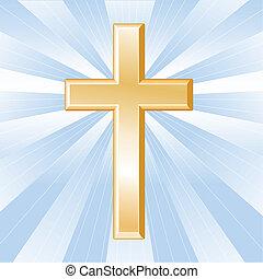 gyllene, kristendom, kors, symbol
