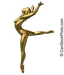 gyllene, kvinnlig naken, -, 3, staty