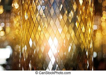 gyllene, lysande, mosaik, bakgrund, glas