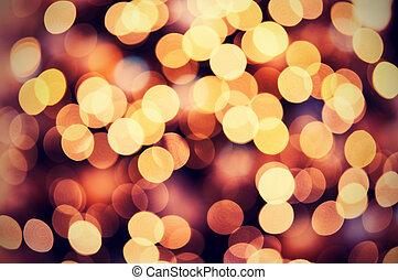 gyllene, lyse, bokeh, bakgrund, jul, röd