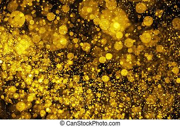 gyllene, lyse, defocused, bakgrund, glitter, jul