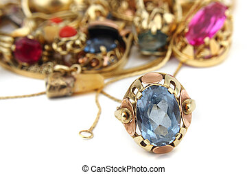 gyllene, lyxvara, smycken