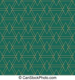 gyllene, mönster, grön,  seamles, bakgrund