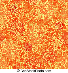 gyllene, mönster, seamless, struktur, orange fond, blommig