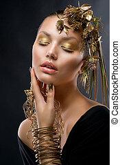 gyllene, makeup., lyxvara, mode, flicka, stående