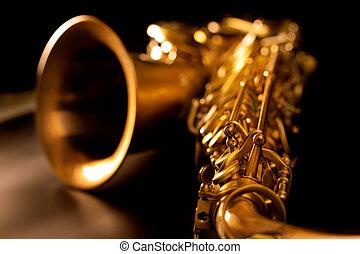 gyllene, makro, fokusera, selektiv, saxofon, förlopp saxofon