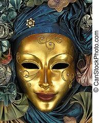 gyllene, maskera