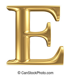 gyllene, matt, brev e, smycken, dopfunt, kollektion