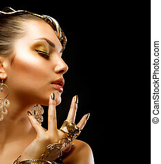 gyllene, mode, makeup., lyxvara, stående, flicka