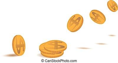 gyllene, mynt, flygning