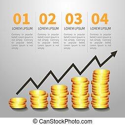 gyllene, mynt, graf, pengar