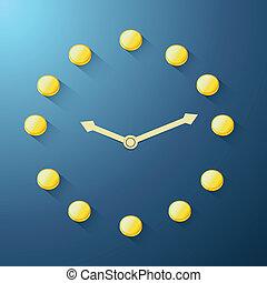 gyllene, mynt, klocka