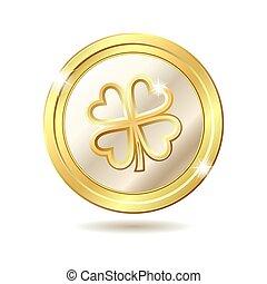 gyllene, mynt, med, clover.