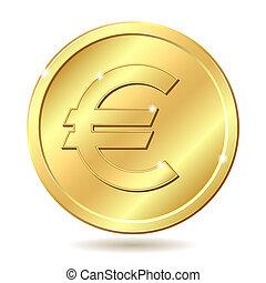 gyllene, mynt, med, euro signera