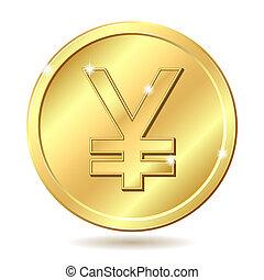 gyllene, mynt, med, yen undertecknar