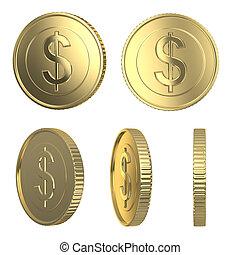 gyllene, mynter, dollar