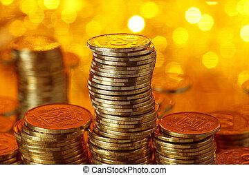 gyllene, mynter, stack, ukrainsk