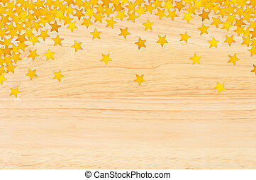gyllene, närbild, bilda, Trä,  över, Struktur, Stjärnor, konfetti