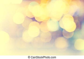 gyllene, naturlig, festlig, lights., bokeh, lysande, bakgrund