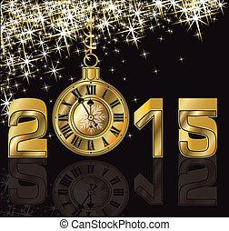 gyllene, nytt år, 2015, lycklig, klocka