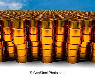 gyllene, olja, framförande, bakgrund, trumma, 3