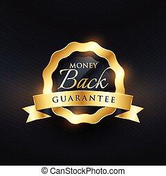 gyllene, premie, pengar, baksida, etikett, vektor, design, garanti