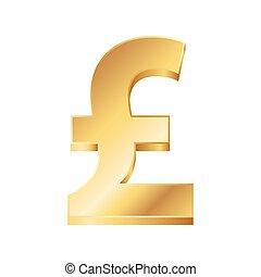 gyllene, pund, illustration, underteckna, vektor, bakgrund, vit