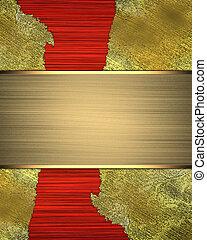 gyllene, röd, sjabbig, bakgrund, cutout.