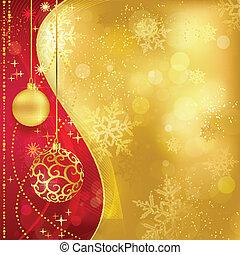 gyllene, röd, struntsak, bakgrund, jul