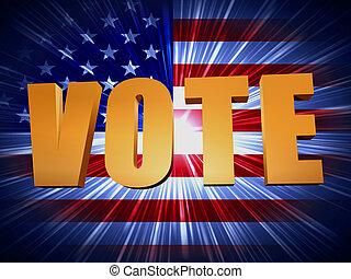 gyllene, rösta, med, lysande, amerikan flagga
