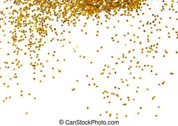 gyllene, ram, glitter, bakgrund