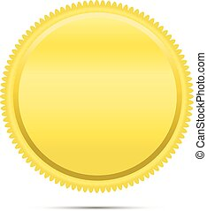 gyllene, runda, emblem, mynt, emblem, ikon