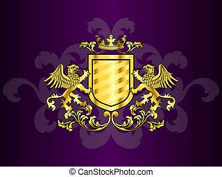 gyllene, sagodjur, vapen, täcka