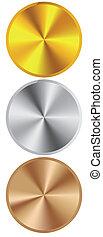 gyllene, silver, brons