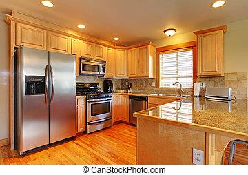 gyllene, skåp, appliances., kitchenw, färsk, lönn