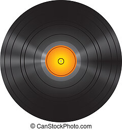 gyllene, skiva, vinyl teckna uppe