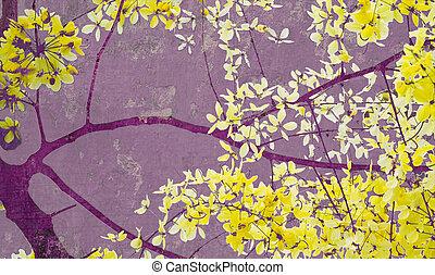 gyllene, skur, träd, på, purpur, vägg, konst, tryck