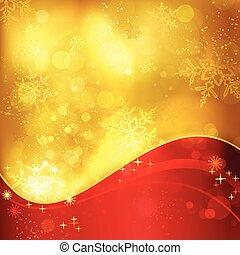 gyllene, snöflingor, lätt, effekter, bakgrund, jul, röd