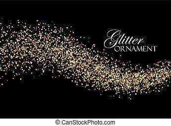 gyllene, sparkles., ström, glittrande