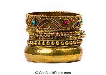 gyllene, stack, armband