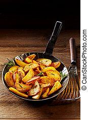 gyllene, steket, rosmarin, kilar, potatis