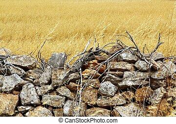 gyllene, sten, sommar, vägg, fält, frimureri