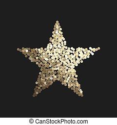 gyllene, stjärna, isolerat, på, svart fond