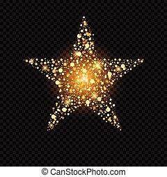 gyllene, stjärna, med, gnistranden, isolerat, på, svart